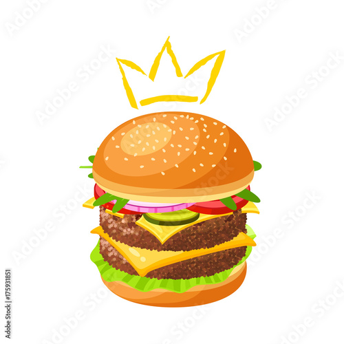King of burger. Double hamburger. Vector illustration cartoon flat icon isolated on white.
