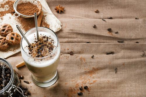 Fotografie, Obraz  coffee latte with chocolate sprinkles