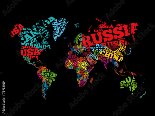 Obraz World Map in Typography word cloud, names of countries, education business concept - fototapety do salonu