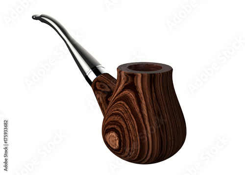 3d render of a smoking pipe isolated on a white background