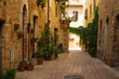 Old street of Old Town of Pienza, Tuscany, Italy