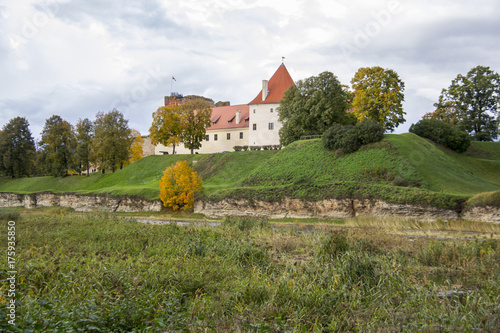 Spoed Foto op Canvas Wit Livonia Order Castle was built in the middle of the 15th century. Bauska Latvia in autumn