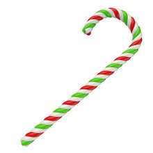 White, Red And Green Candy Cane