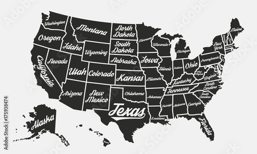 United States of America poster map. USA map vintage ...