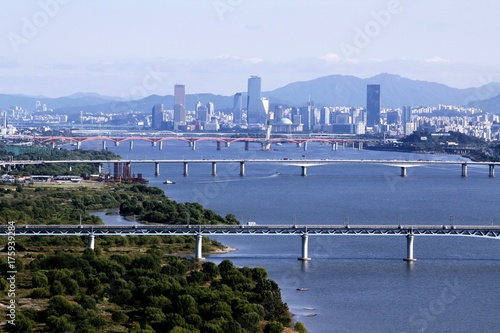 Han river and Seoul cityscape Poster