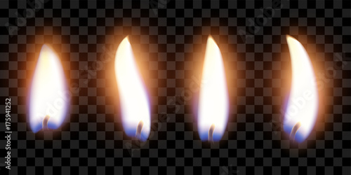 Fototapeta flame of four candles with the effect of transparency, highly realistic illustration obraz