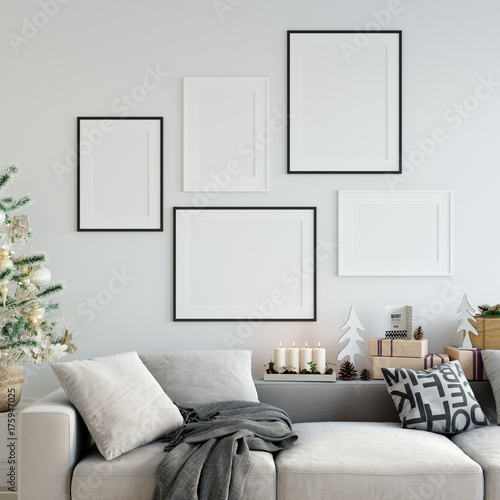 Fotografia, Obraz  mock up posters in living room Christmas interior
