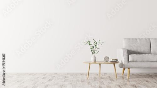 Fotodibond 3D Wnętrze z kanapy i stolik do kawy 3d renderingiem