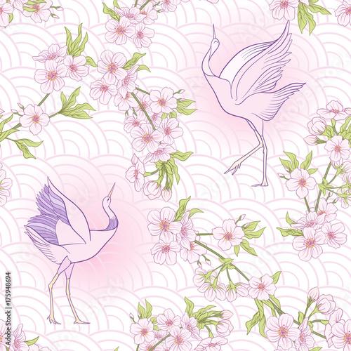 Cotton fabric Seamless pattern with Japanese blossom sakura and crane, bird. V