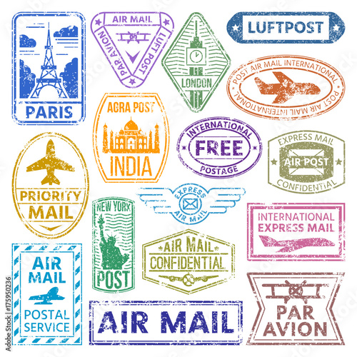 Fotografía  different countries air plane post stamp delivery mail postmark illustration