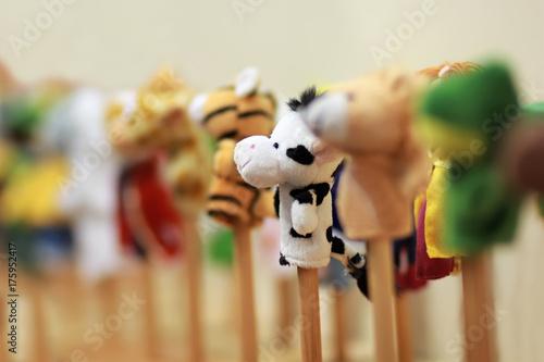 Fotografía Toy puppets on wooden sticks for preschool nursery theatre