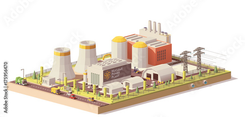 Vector low poly nuclear power plant
