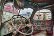 Old Truck Interior With Rust