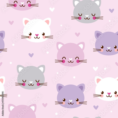 fototapeta na lodówkę Vector seamless pattern with faces of cats on pink background.