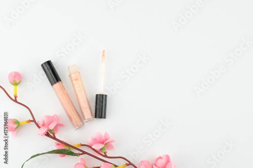 Nude Pink Lip Gloss Decorated With Fake Pink Flower Branches On