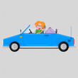 Girl driving convertible blue car Easy combine! For custom 3d illustration contact me.