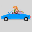 Couple in love driving convertible blue car Easy combine! For custom 3d illustration contact me.