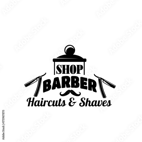 Stampa su Tela Barbershop vector mustache and razor vector icon