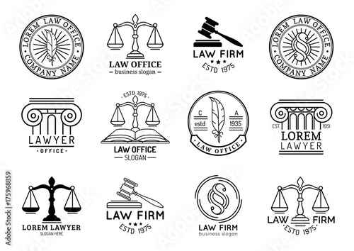 Law office symbols set with scales of justice, gavel etc illustrations Canvas Print