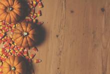 Pumpkin And Candy Corn Autumn Halloween Background