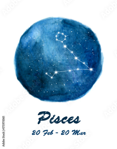 Cuadros en Lienzo Pisces constellation icon of zodiac sign Pisces in cosmic stars space