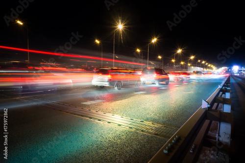 Foto op Aluminium Nacht snelweg traffic light trails on a big road junction at night in a big city