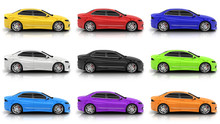 Nine Car In Different Colors