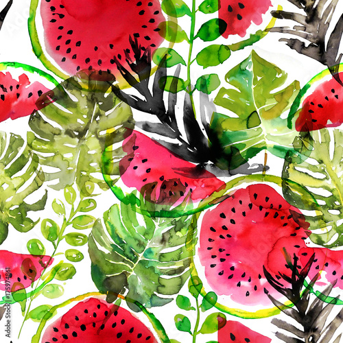 Cotton fabric Tropical watermelon and palm leaves seamless pattern. Watercolor painting