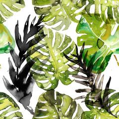Akwarela monstera palma opuszcza bezszwowego wzór