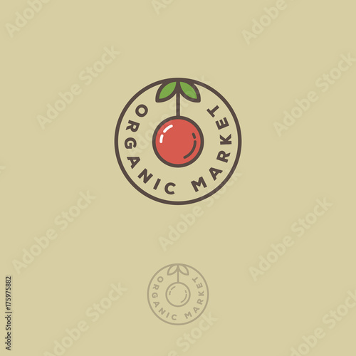 Organic market emblem. Organic food logo. Circle fruit and leaves with letters. Wall mural