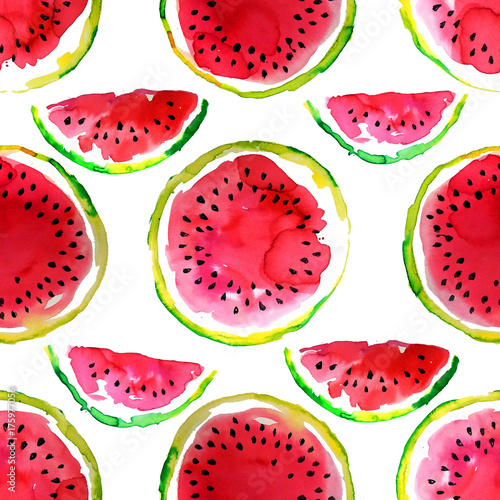Cotton fabric Summer  theme. Watercolor watermelon seamless pattern. Hand drawn.