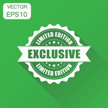 Exclusive Rubber Stamp Icon. Business Concept Exclusive Limited Edition Stamp Pictogram. Vector Illustration On Green Background With Long Shadow.