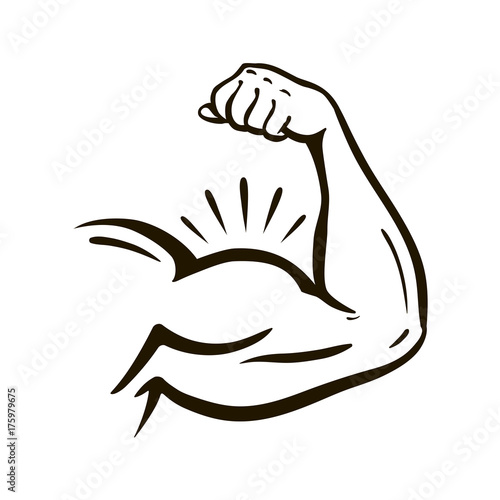 Photo Power hand, muscular arm, bicep