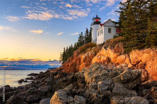 Photo Sunset over Bass Head Light in Acadia National Park, Maine