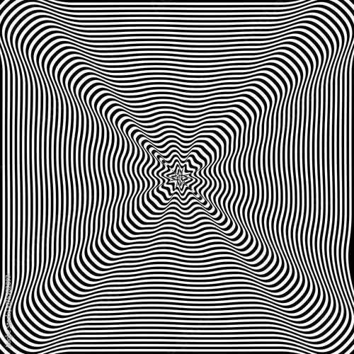 Plakat Abstrakt przekręcający czarny i biały tło. Złudzenie optyczne zniekształconej powierzchni. Skręcone paski. Stylizowany tunel 3d.