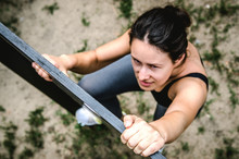 Young Girl Trains In Rock Clim...