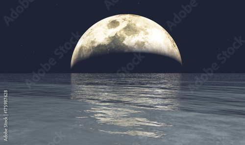 Wall Murals Nasa Full moon and the ocean