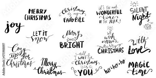 Fotografía  Set of Christmas lettering handwritten
