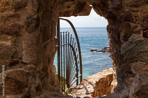 Exit to the beach by the walls of the so-called demon hole Canvas Print