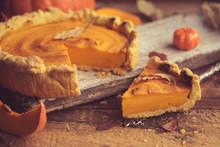Homemade Pumpkin Pie With Autu...