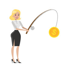 Woman Money Fishing.