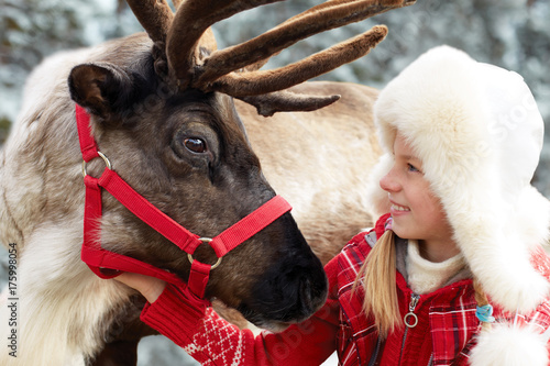 fototapeta na lodówkę Happy little girl hugging her reindeer. Winter playtime.