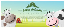 Farm Animal And Rural Landscape Background With Cows , Vector , Illustration