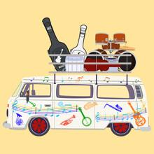 Music Tour Bus Vector Flat Illustration