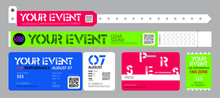 Ticket And Bracelets For Entrance To The Event. Live Performance Entrance Vector Tickets And Bracelets Templates. Dance, Music Or Concerts. Entrance To Fan Zone