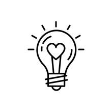 Lightbulb Idea Love Icon Feelings Vector. Thin Line Art Design, Vector Flat Illustration