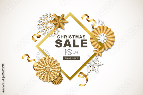 christmas or new year sale banner vector holiday frame with golden paper stars ribbons