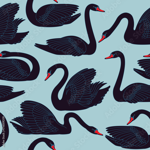 Seamless hand painted black swans pattern. Fauna background with birds used for wallpaper, pattern fills, web page, fabric print, postcards.