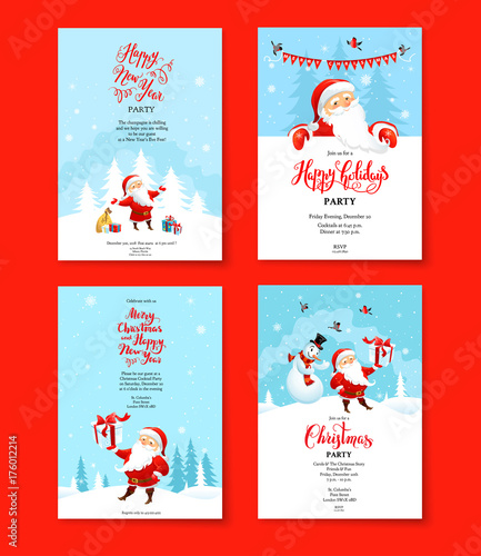 Fotobehang - Santa holiday winter red set
