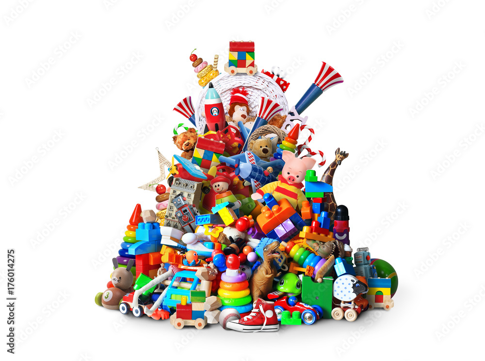 Fototapety, obrazy: Huge pile of different and colored toys